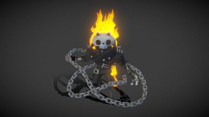 Cat Skull Ghost Rider 3D Model