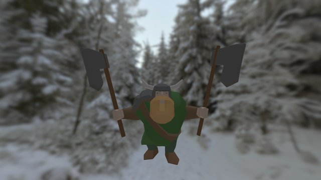 Viking Angry Low Poly 3D Model