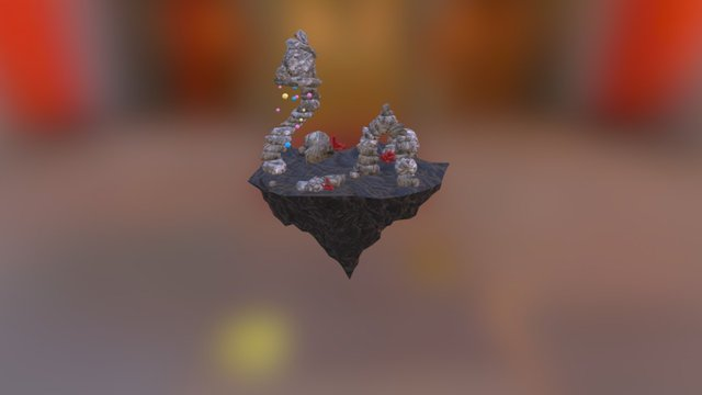 Floating Rock Islands Environment 3D Model