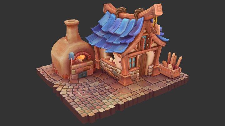 Bread Kiln and Bakery 3D Model