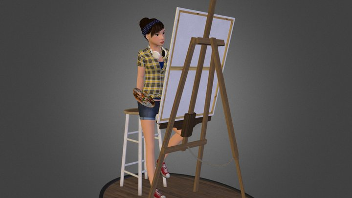 Emily The Painter 3D Model