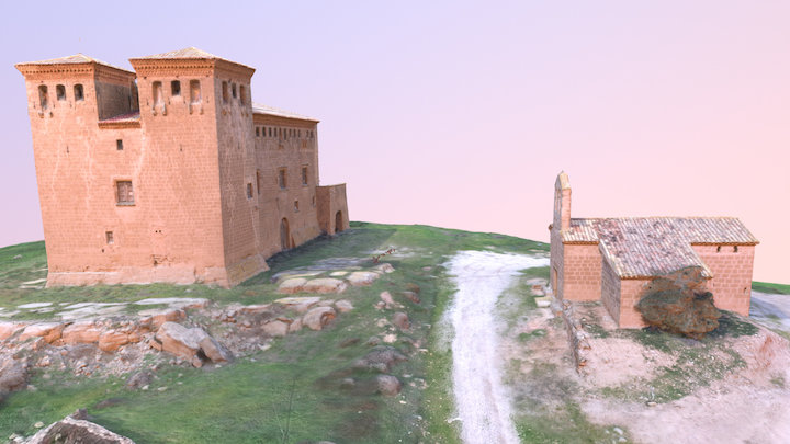 Montcortès Castle and Santa Anna little church 3D Model
