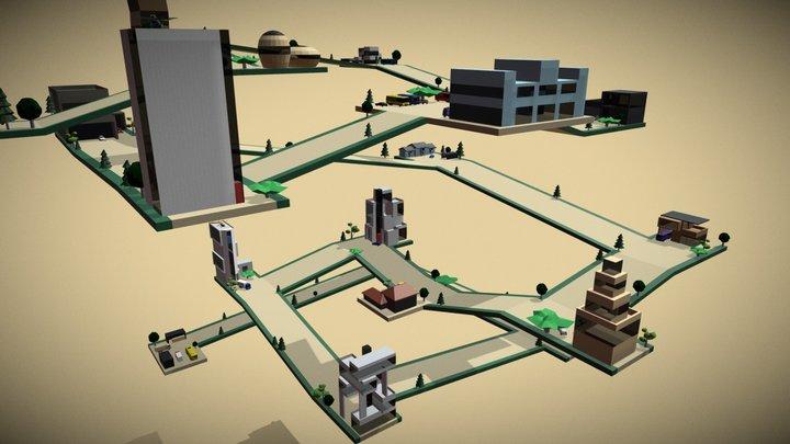Imaginary city - Animated lowpoly neighborhood 3D Model