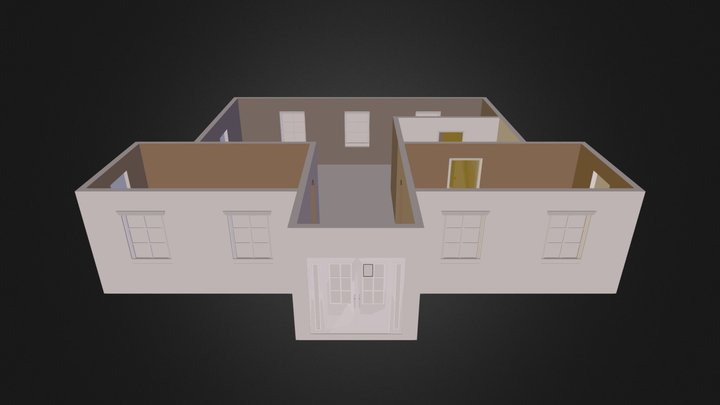 House- Walls with door and windows.dae 3D Model