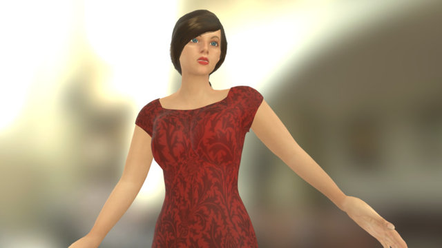 Woman In Red 3D Model