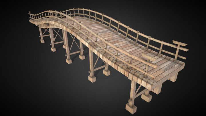 Japanese wooden bridge 3D Model