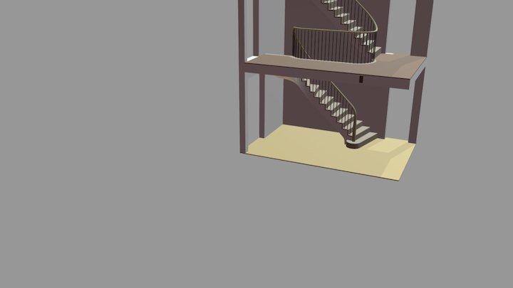 Curved Oak stair 3D Model