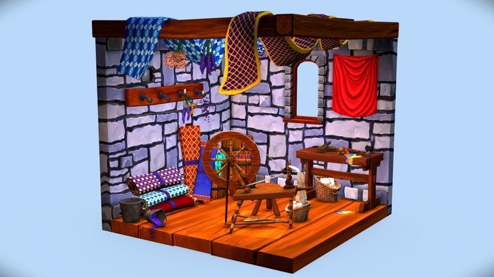 Spinning Wheel Room 3D Model