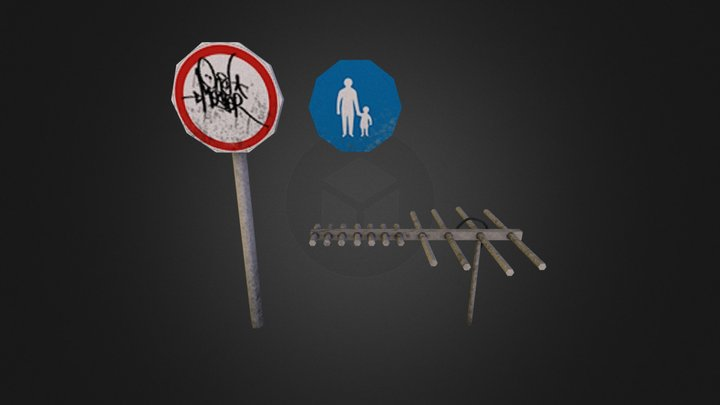 Prop_roadsign_and_tv_antenna 3D Model
