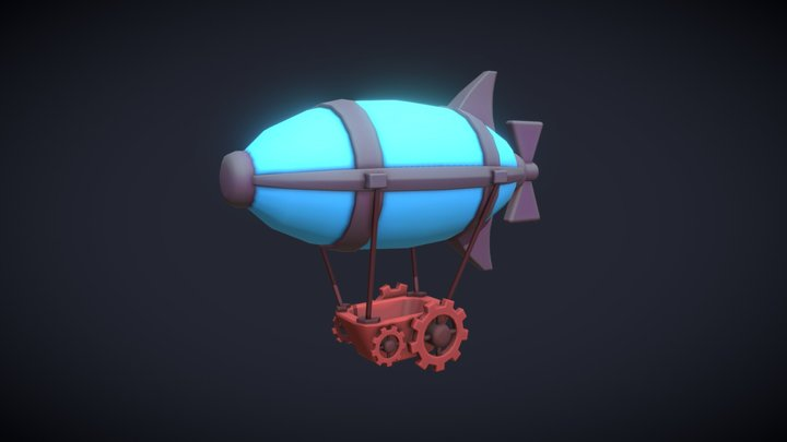 Stylized Steampunk Airship 3D Model