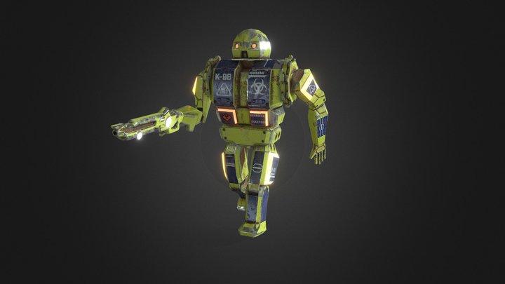 SciFi Robot Shotgun Enemy Elements Video Game 3D Model