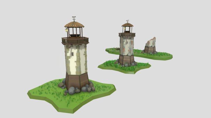Light House - New, Damaged and Destroyed 3D Model