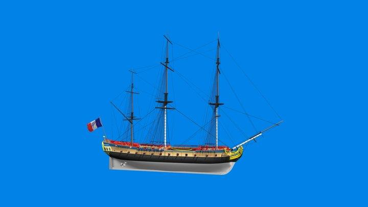 La frégate Hermione - Rochefort - France 3D Model