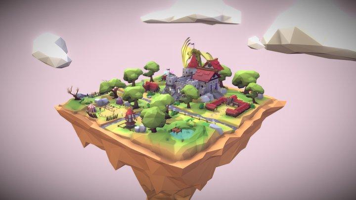 Decentraland Medieval Plaza Scene 3D Model