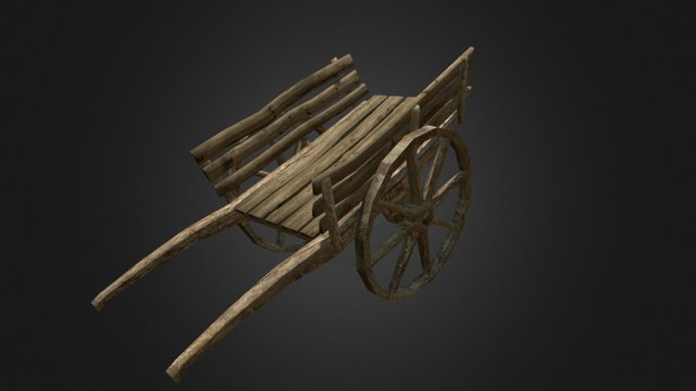 Wood Hand Cart 3D Model