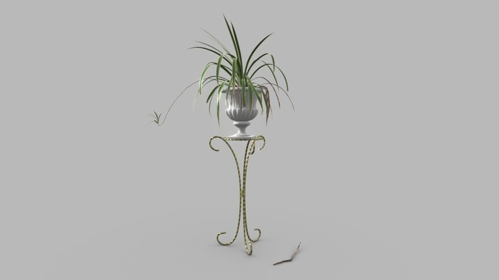 Spider Plant on a Mid-Century Plant Stand 3D Model
