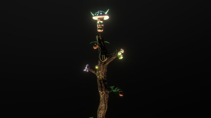 Horned Staff of Magical Mushrooms 3D Model
