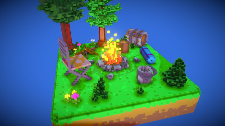 campfire in the evening#2 3D Model