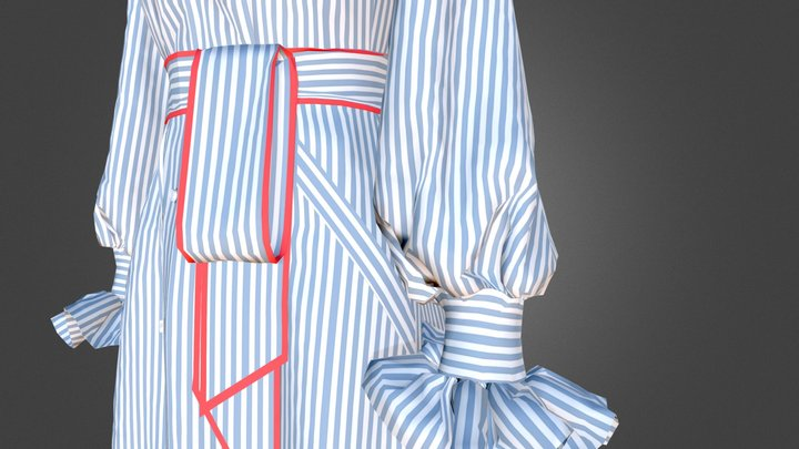 Dress with shirt collar and pockets 3D Model