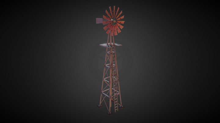 Animated Farm Windmill / Windpump 3D Model