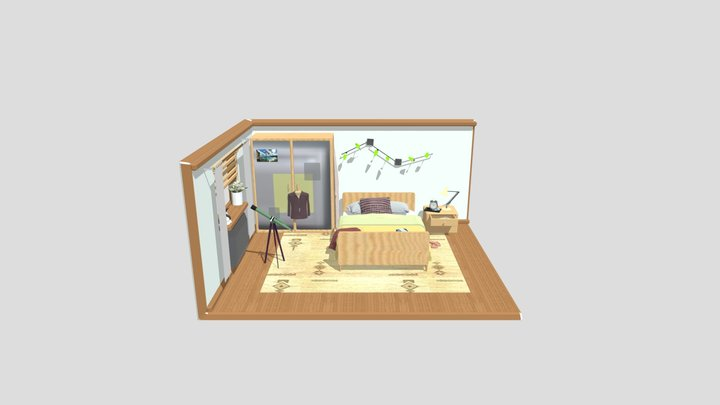 Isometric Bedroom 3D Model