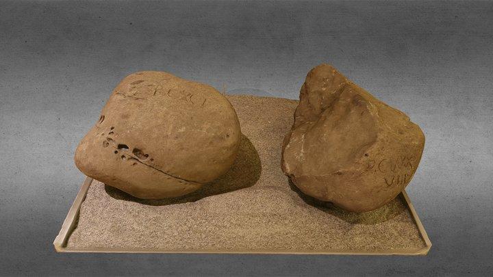 Limestone block with inscription 3D Model
