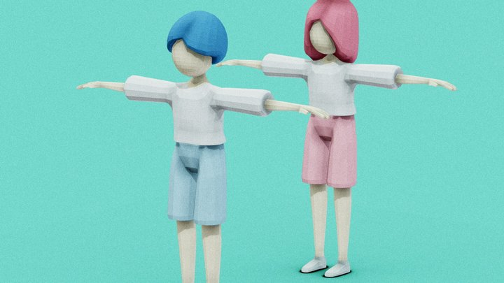 Villagers (Rigged) 3D Model
