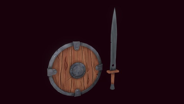 Stylized sword and shield 3D Model