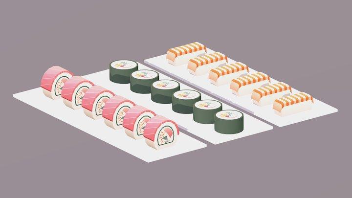 Sneak Peek Lowpoly Sushi 3D Model