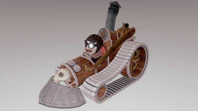 Old Cartoon Steam Cart 3D Model