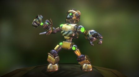 Low Poly Hero Robot Rigged and Textured 3D Model