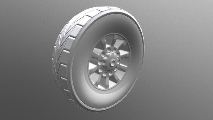 High Poly Wheel 3D Model