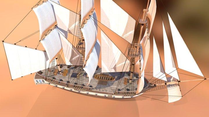 Corvette Ship 3D Model