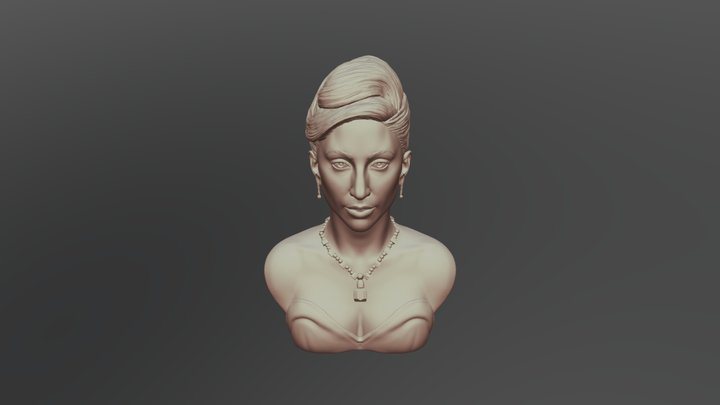Lady Gaga Bust ready to 3D print 3D Model