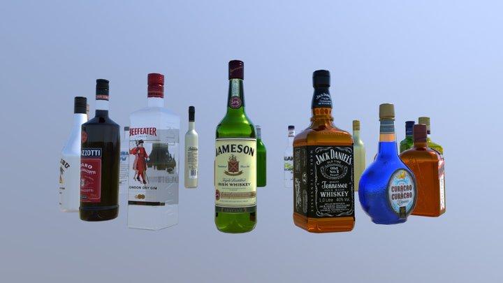 20 Liquor bottles 3D Model