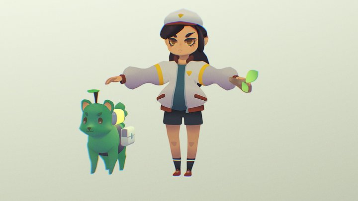 Girl and mutant dog 3D Model