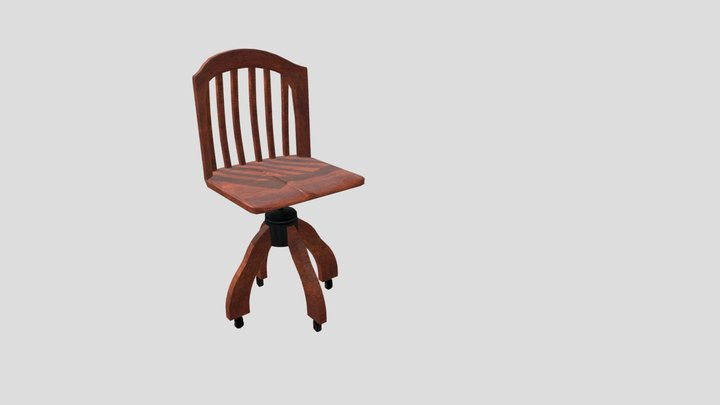 19th-Century Rolling Chair 3D Model