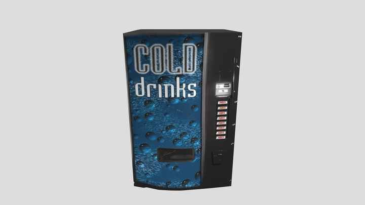 Cold Drinks Vending Machine - Low Poly 3D Model