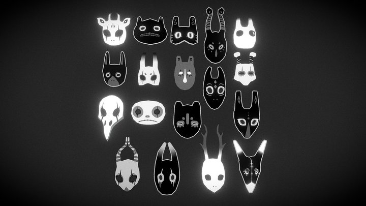 Ancient Mask Collection 3D Model