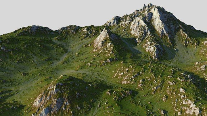 Grass Map Mountains (World Machine) 3D Model