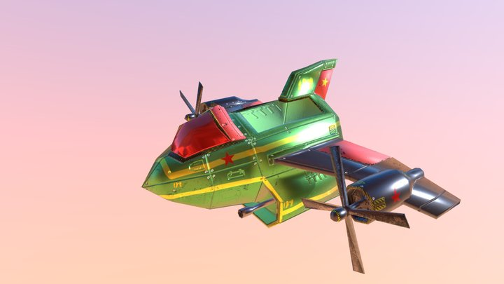Space Plane (Low Poly Mesh with Animations) 3D Model