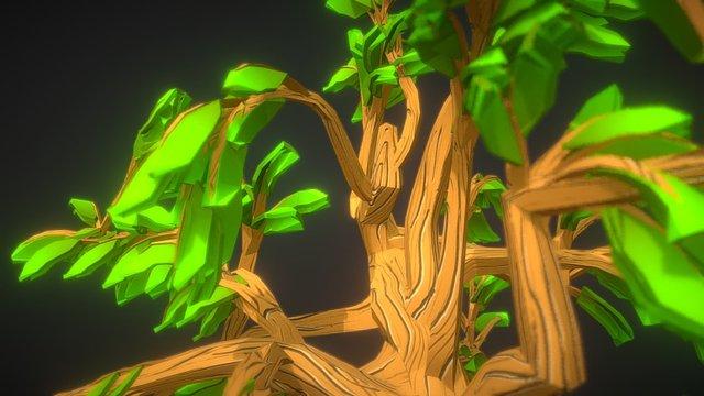 Lowpoly Fantasy Cartoon Game Tree 01 3D Model