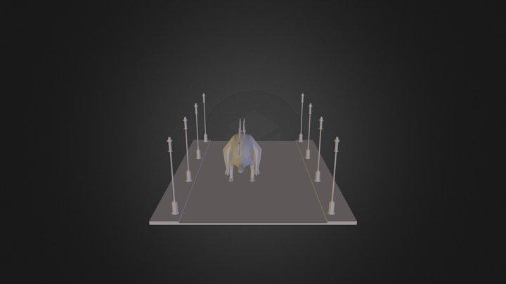 Stegosarus on a city street 3D Model