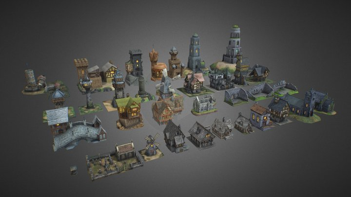 Medieval Fantasy Buildings Pack 01 3D Model