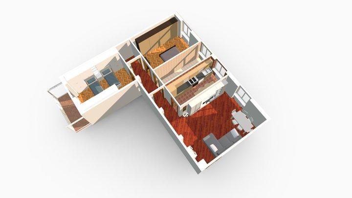 Trilocale Via Boncompagni Milano 3D Model