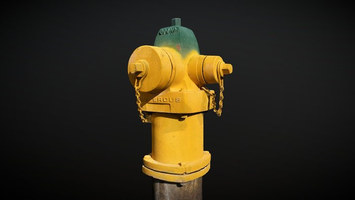 Fire Hydrant (Yellow with Green Top) 3D Model