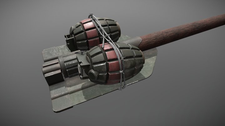 Folding Shovel Stick Grenade 3D Model
