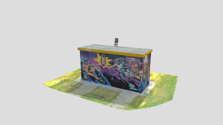Electrical Substation with Graffiti 3D Model