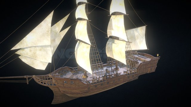 Colonial Ship 3D Model