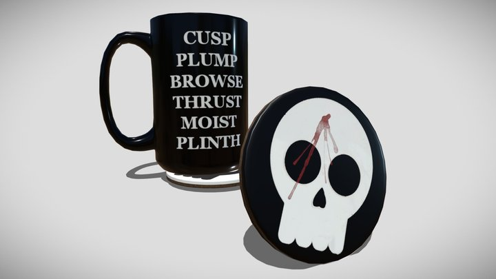 Mug and Skull Coasters 3D Model